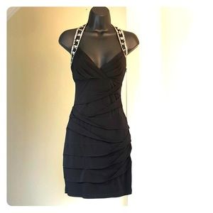 CITY TRIANGLES sz S black cocktail stretch dress